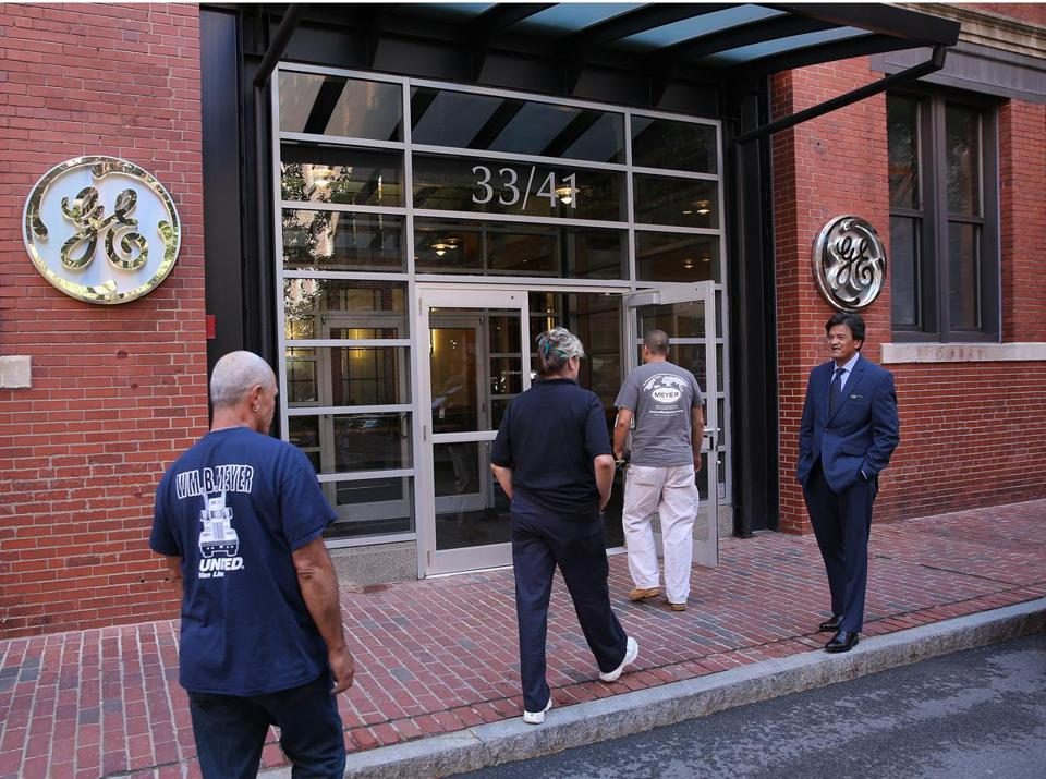General Electric Co. has set up a temporary headquarters on Farnsworth Street.