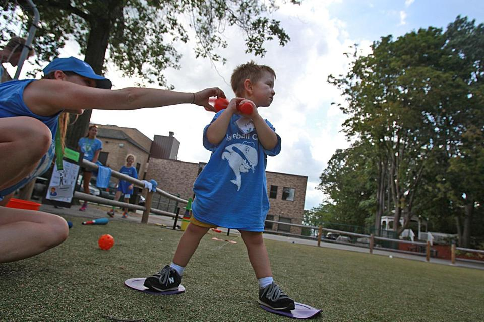Gus Marstall, of Cambridge, got his turn at bat at Franciscan Children's.