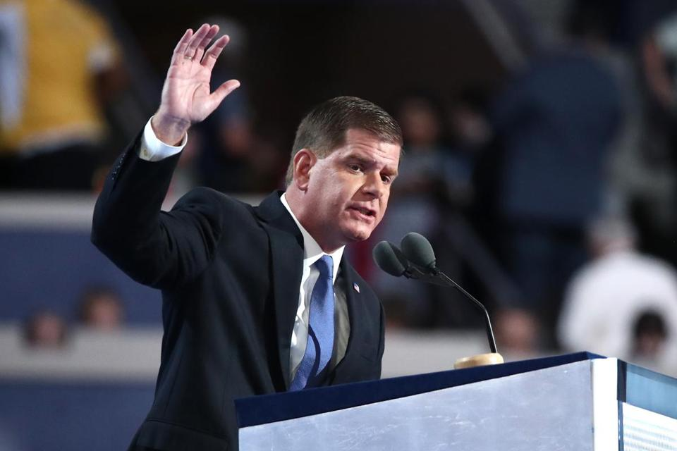 PHILADELPHIA, PA - JULY 25: Mayor of Boston Marty Walsh delivers a speech on the first day of the Democratic National Convention at the Wells Fargo Center, July 25, 2016 in Philadelphia, Pennsylvania. An estimated 50,000 people are expected in Philadelphia, including hundreds of protesters and members of the media. The four-day Democratic National Convention kicked off July 25. (Photo by Jessica Kourkounis/Getty Images)