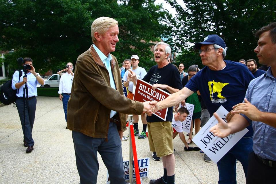 Former Massachusetts Governor, William Weld, greets supporters outside of the New Hampshire State House in Concord, during a rally for Libertarian Gary Johnson and Weld, who is running as vice president, on Thursday, August 25, 2016. Mark Lorenz for the Boston Globe