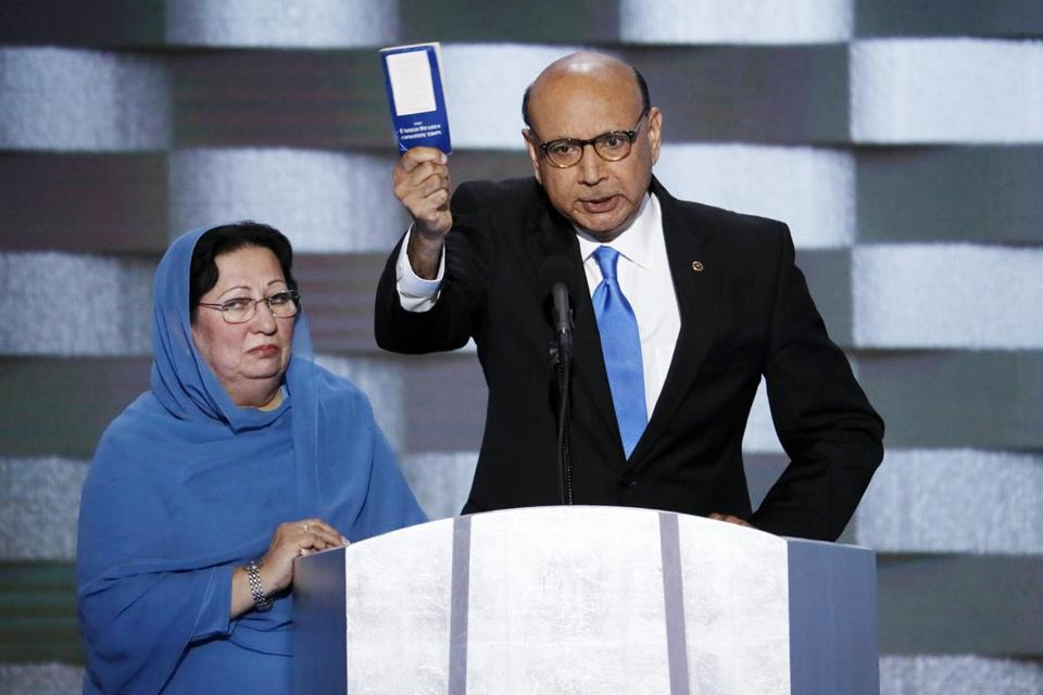 Khizr Khan, father of fallen US Army Capt. Humayun S. M. Khan spoke at the Democratic National Convention last month as his wife looked on.