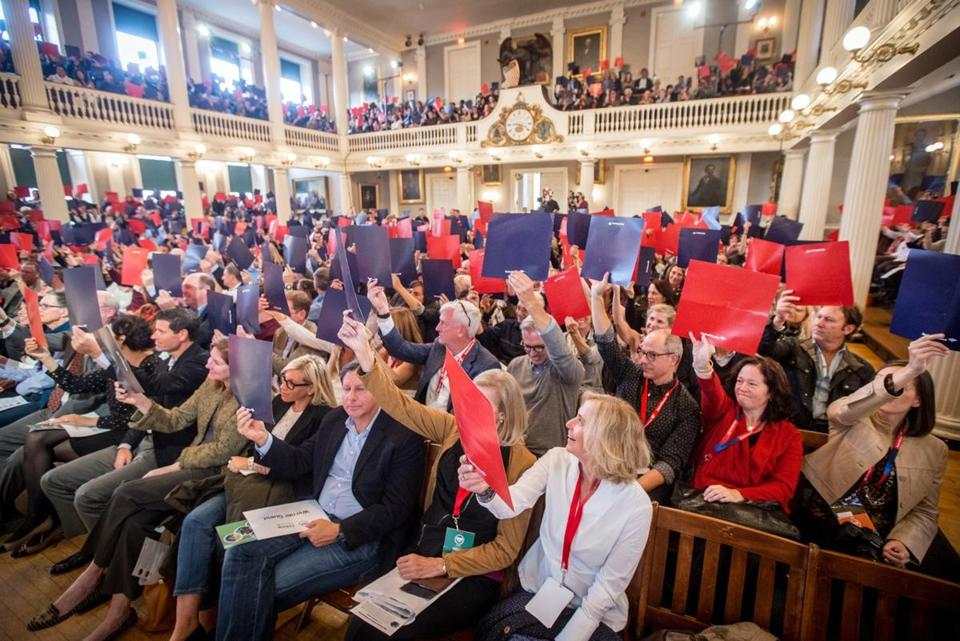 "HUBweek attendees participate in last year's ""Faneuil Forum."""