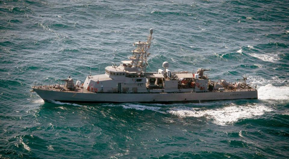 The patrol craft USS Squall, shown during maneuvers in the Persian Gulf in January 2015, fired three warning shots to cause an Iranian vessel to turn away.
