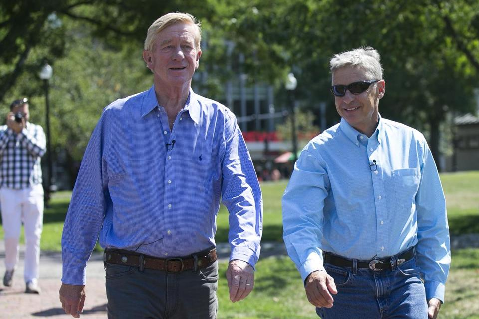 Libertarian candidates William Weld and Gary Johnson arrived Saturday at a campaign rally in Boston.