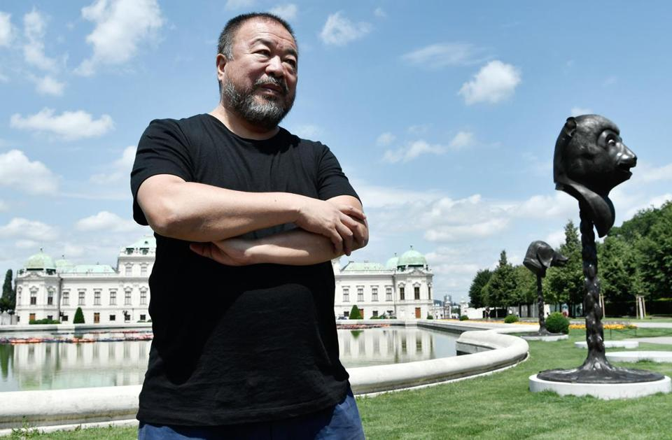 "Ai Weiwei, shown in Vienna with one of his projects, plans to finish the ""Redline"" piece."