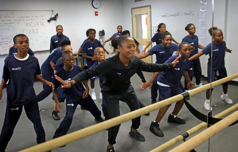 BOSTON, MA - 8/23/2016: Khamara Cleaves (cq nike top ) teaches a dance class for 6th grade students. The Brooke Charter School in Mattapan, charter schools have been touted as labs of innovation (David L Ryan/Globe Staff Photo) SECTION: METRO TOPIC 31charterinnovate