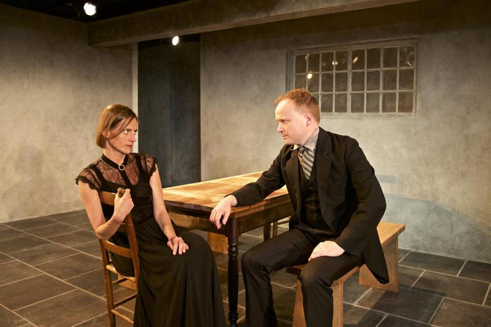 "Brenda Withers and Jonathan Fielding in Harbor Stage Company's ""Miss Julie."""