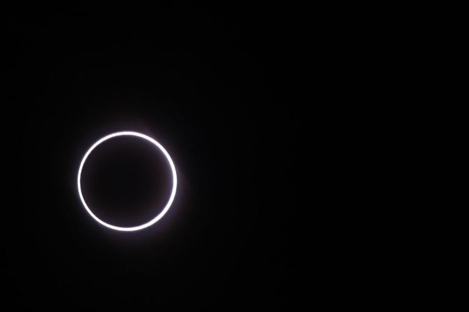 Photo taken on September 1, 2016, in Saint-Louis, on the Indian Ocean island of La Reunion, shows the moon covering the sun, leaving a ring of fire effect around the moon, during an annular solar eclipse. Stargazers across the U.S. are preparing for today's solar elipse.