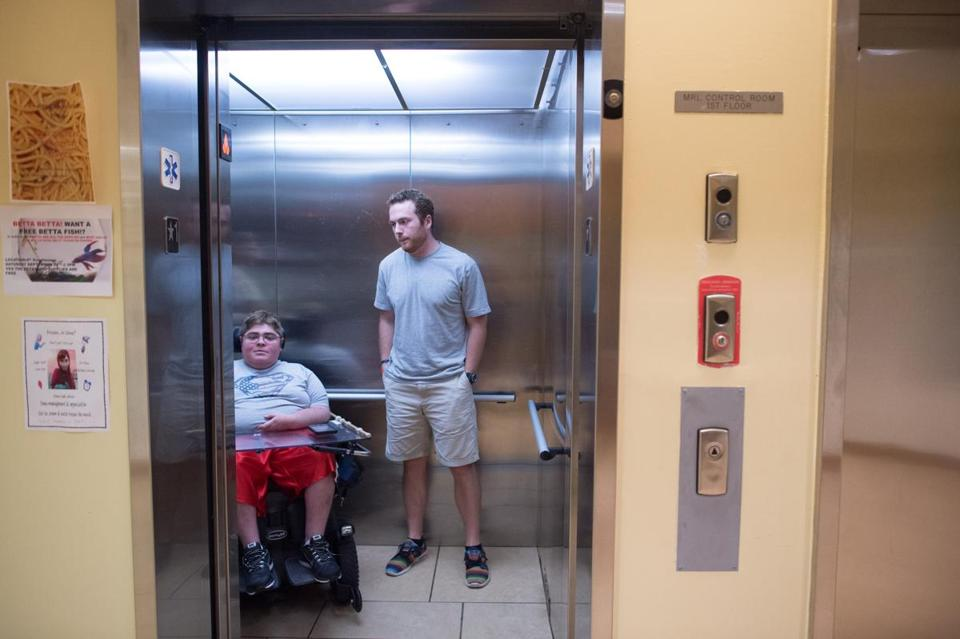 Jett McSherry rode in the elevator with his roommate Josh Dyer at their dorm.