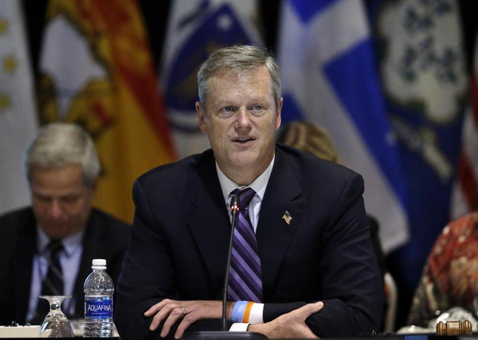 Massachusetts Gov. Charlie Baker speaks during a conference of New England's governors and eastern Canada's premiers to discuss closer regional collaboration, Monday, Aug. 29, 2016, in Boston. (AP Photo/Elise Amendola)