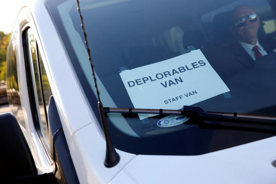"A staff van in Republican presidential nominee Donald Trump's motorcade was labeled ""Deplorables"" as he toured the Staub Manufacturing plant in Dayton, Ohio, Wednesday."