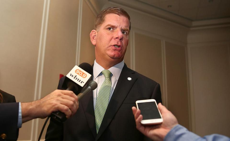 Boston, MA--9/27/2016--Mayor Marty Walsh (cq) answers media questions after addressing the Greater Boston Chamber of Commerce (cq), on Tuesday, September 27, 2016. Photo by Pat Greenhouse/Globe Staff Topic: 28walshchamber Reporter: Jon Chesto