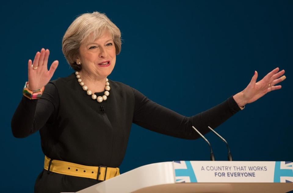 Prime Minister Theresa May spoke at the start of the Conservative Party's annual convention in Birmingham, England.