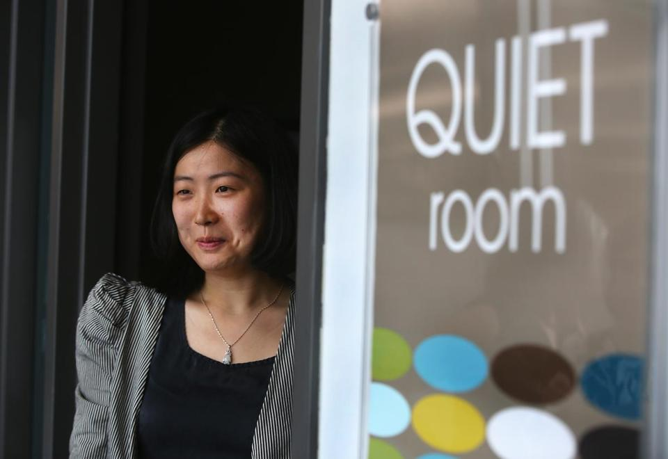 Watertown, MA--9/21/2016--At Tufts Health Plan headquarters in Watertown, employees have access to a quiet room, which Audrey Wang (cq) uses. She is photographed, on Wednesday, September 21, 2016. Photo by Pat Greenhouse/Globe Staff Topic: 112016quiet Reporter: Priyanka McCluskey