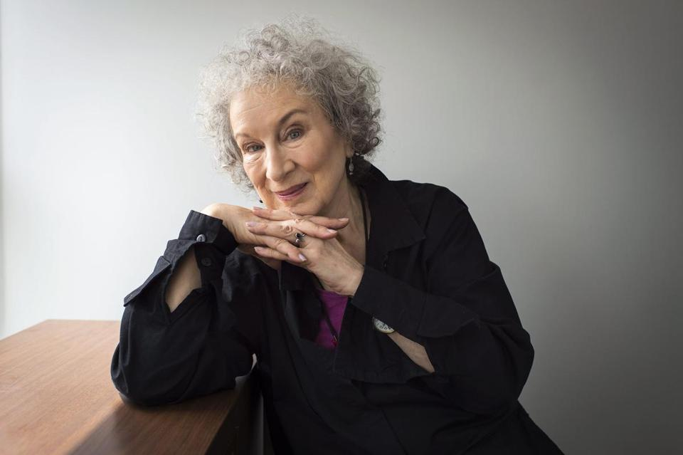 "Author Margaret Atwood sits for a portait while promoting her new books ""Angel Catbird"" and ""Hag-Seed"" in Toronto on Thursday, July 28, 2016. (Aaron Vincent Elkaim/The Canadian Press via AP)"