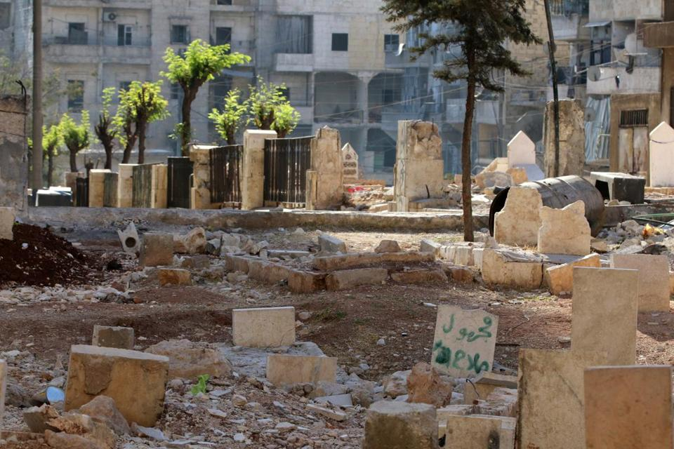 A public garden was converted to a graveyard because of overcrowding in Aleppo's cemeteries.