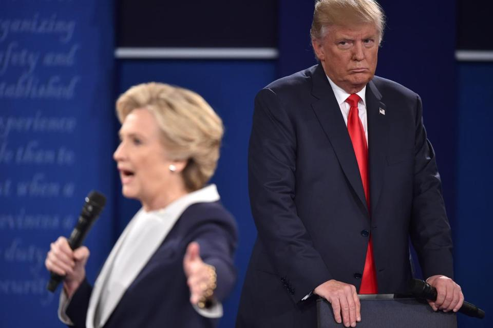 Hillary Clinton and Donald Trump during the second presidential debate Sunday night.