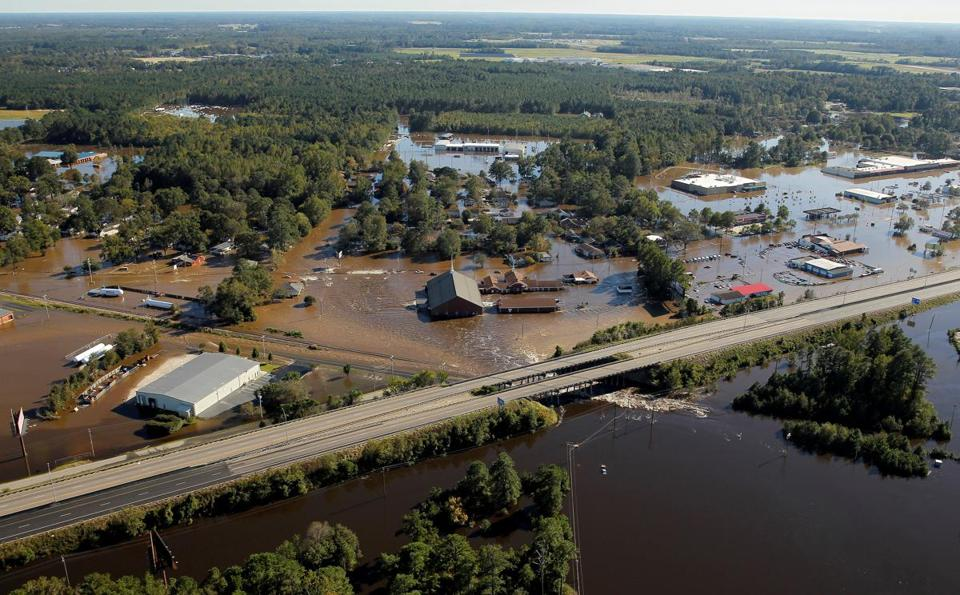 Flooding in Lumberton, N.C., will probably persist for the rest of the week, officials said. The town is home to about 22,000 people.
