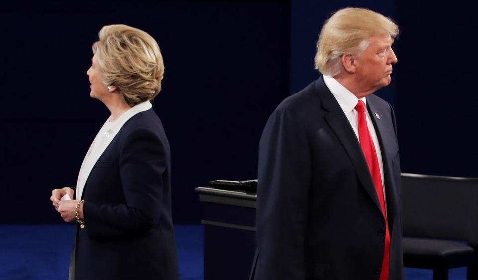 Hillary Clinton and Donald Trump listened to a question during the debate.