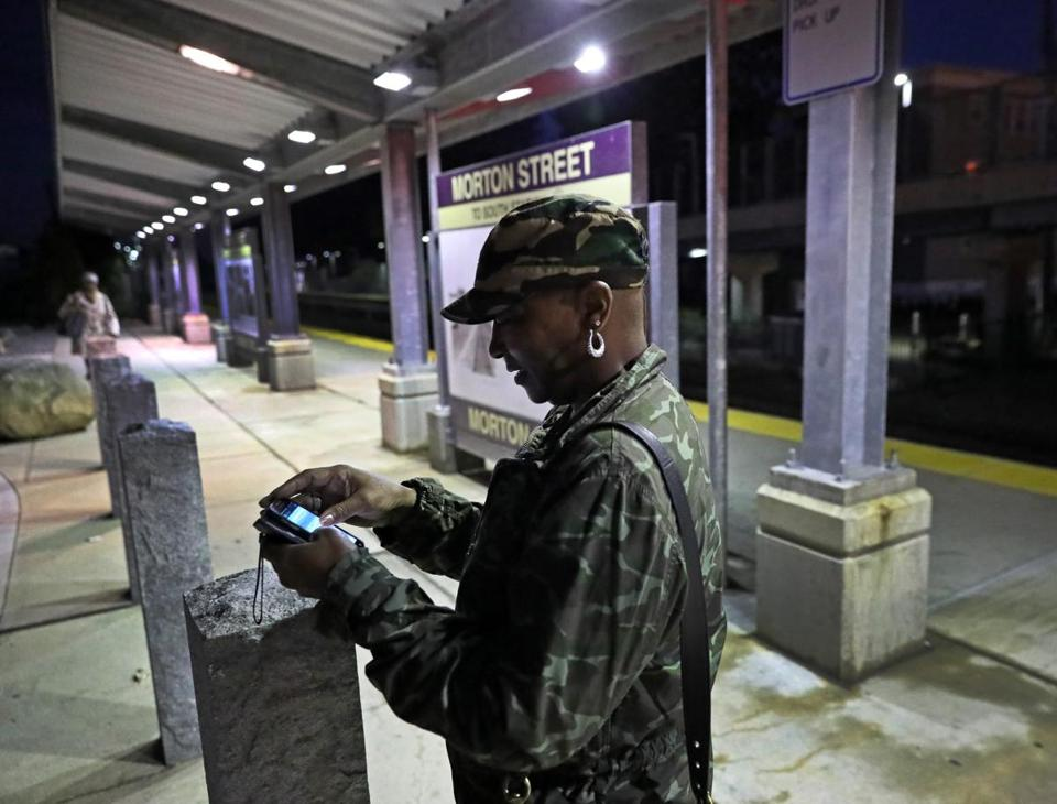 Bernadette Macon-Bell checked the train schedule in Mattapan.