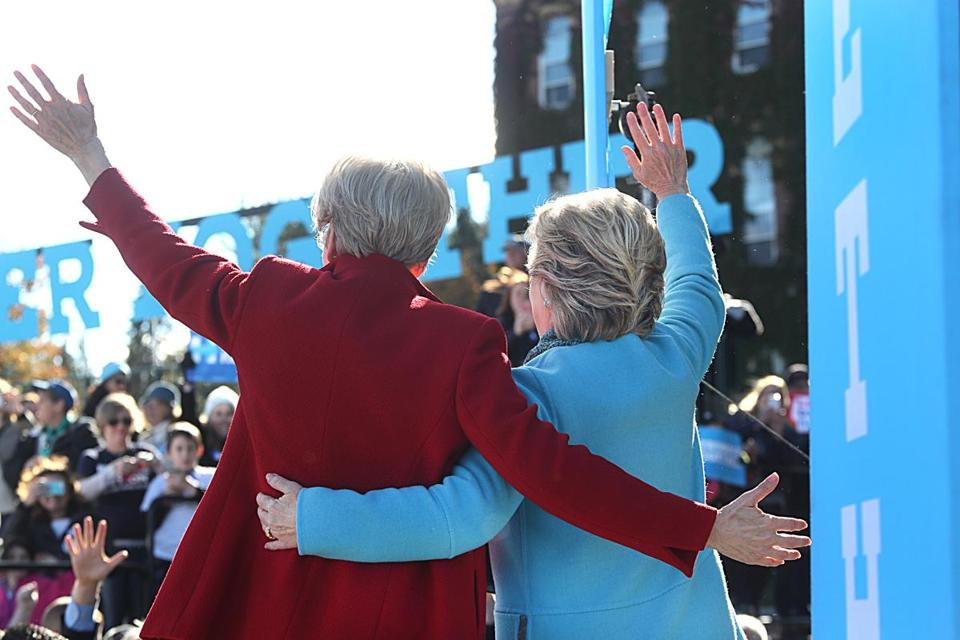 Hillary Clinton (right) and Senator Elizabeth Warren held a rally at St. Anselm College during last year's presidential campaign.