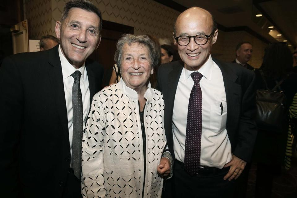 10-18-2016 Boston, Mass, Over 500 guests attended the Massachusetts Health Council Awards Gala, celebtating 96 years of Advocacy for Prevention. Wellness and Healthy Living. L. to R. are Honored guests Michael Botticelli, White House Office of National Drug Control Policy, Dolores Mitchell, Retired Executive Director Mass, Group Insurance Commission. and Dr. Thomas H. Lee Chief Medical Officer, Press Ganey Associates. Globe photo by Bill Brett