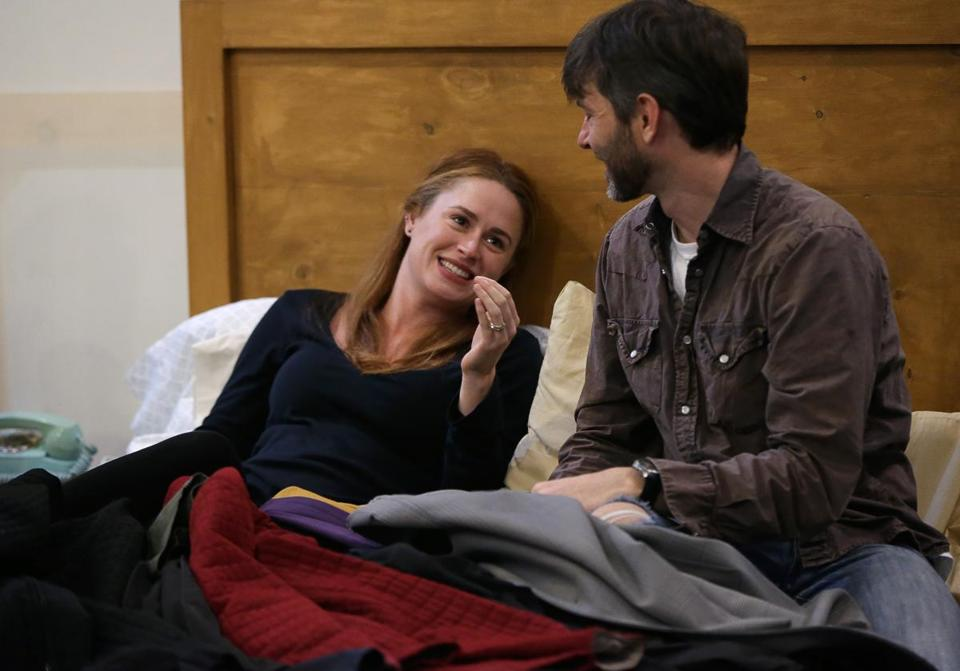 "Katie Paxton and Karl Miller rehearse a scene from the Huntington Theatre production of ""Bedroom Farce."""