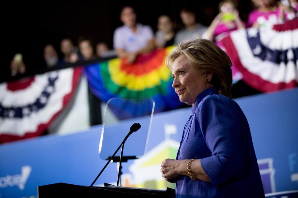 Hillary Clinton speaks at a rally in Wilton Manors, Fla., on Oct. 30.