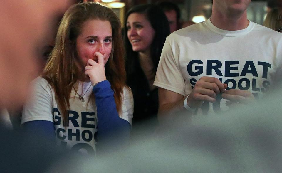Boston, MA-11/07/16- Louise Carbery is pictured as she watches retrurns on television. Proponents of Question 2 on the Massachusetts ballot that would allow more charter schools gathered at Foley's Irish Pub and Restaurant in the South End to watch the election results. (Jim Davis/Globe Staff) reporter: scharfenberg topic: 09charter