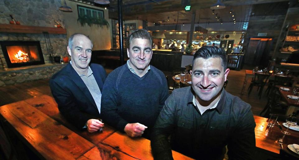 "South Boston, MA- 11-17-16: Pictured in one of the rooms at ""Capo"" on West Broadway in South Boston are, left to right, Michael Connelly, Eric Aulenback and Mike Shaw. .(Jim Davis/Globe Staff) reporter: nanos topic: 21Restaurantcluster"
