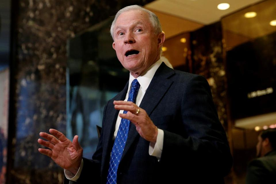 U.S. Senator Jeff Sessions (R-AL), an advisor to U.S. President Elect Donald Trump, speaks to members of the Media in the lobby of Trump Tower in the Manhattan borough of New York City, New York November 17, 2016. REUTERS/Mike Segar/File Photo TPX IMAGES OF THE DAY