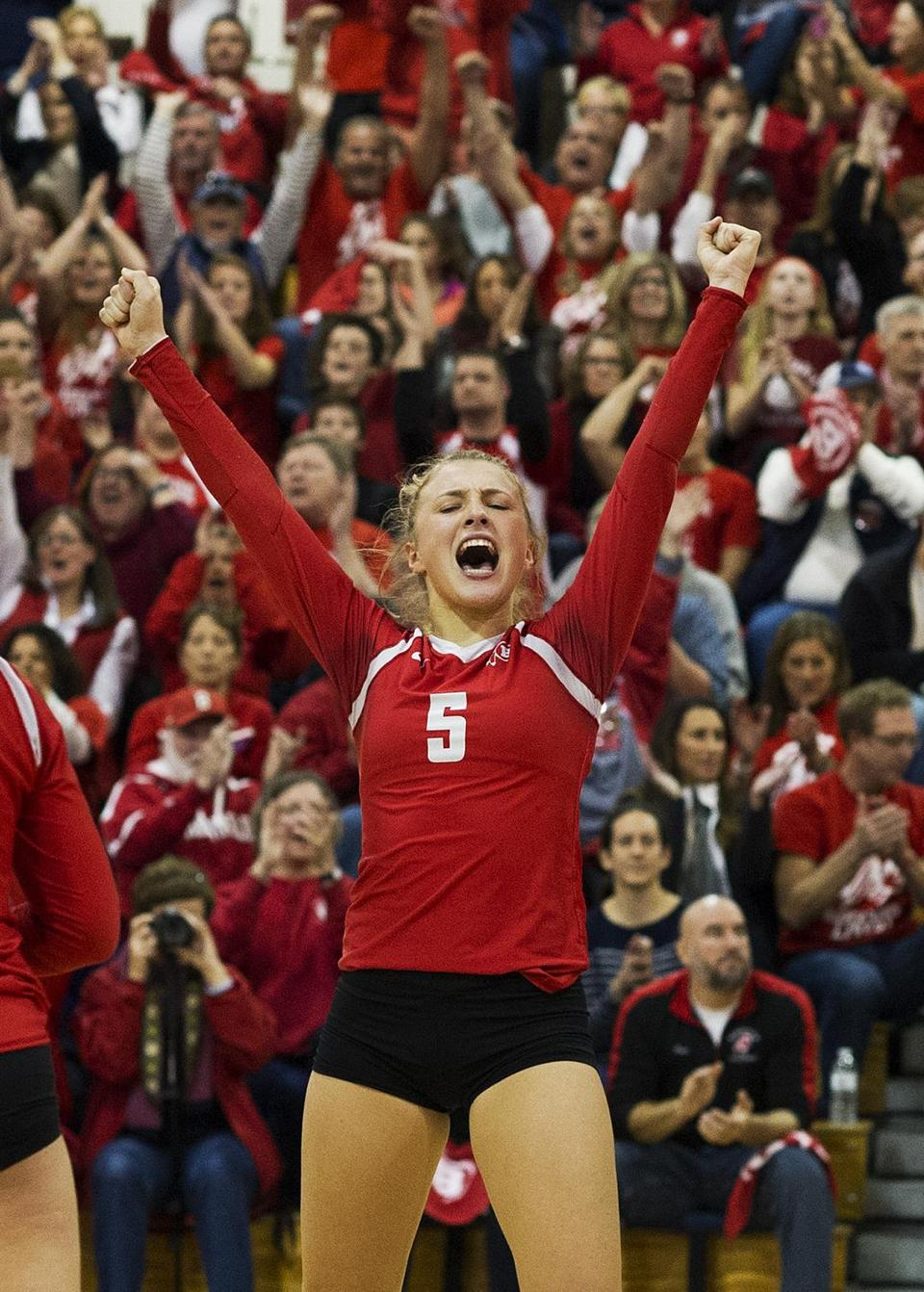 Ingrid Murphy celebrates during the Division 1 state title match against Newton North.
