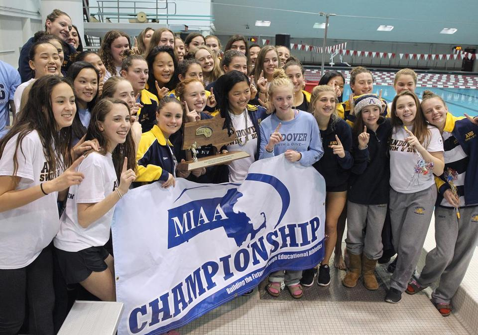 Allston, MA -11/20/2016 - Andover celebrates their win. The Division 1 M.I.A.A. Girls' & Boys' Fall State Swimming & Diving Championships are held Harvard's Blodgett Pool. Photo by Pat Greenhouse/Globe Staff Topic: 21schswimming Reporter: Logan Mullen