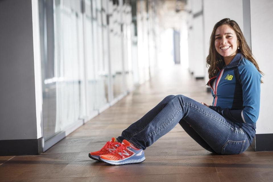 Boston, MA - 11/18/2016 - Olympic runner Abbey D'Agostino poses for a portrait in the offices of her sponsor New Balance in Boston, MA on November 18, 2016. D'Agostino tore her ACL after colliding with fellow runner Nikki Hamblin during the women's 5000 meter race at the Rio Olympics. (Keith Bedford/Globe Staff) Topic: Reporter: