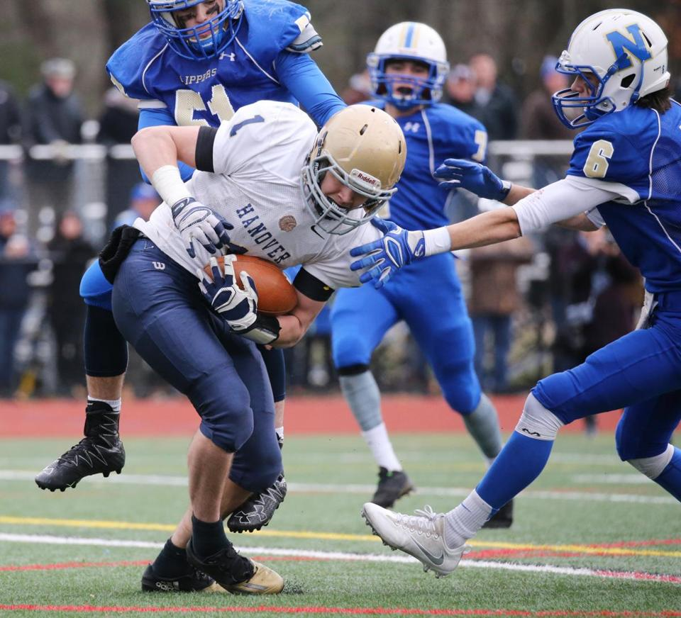 Norwell, MA - November 24, 2016: Hanover High School's Jeffrey Wheeler (1) scores touchdown after a completed pass in the third quarter of the Thanksgiving day football game between Hanover and Norwell High School in Norwell, MA on November 24, 2016. (Craig F. Walker/The Boston Globe) Section: Sports reporter: