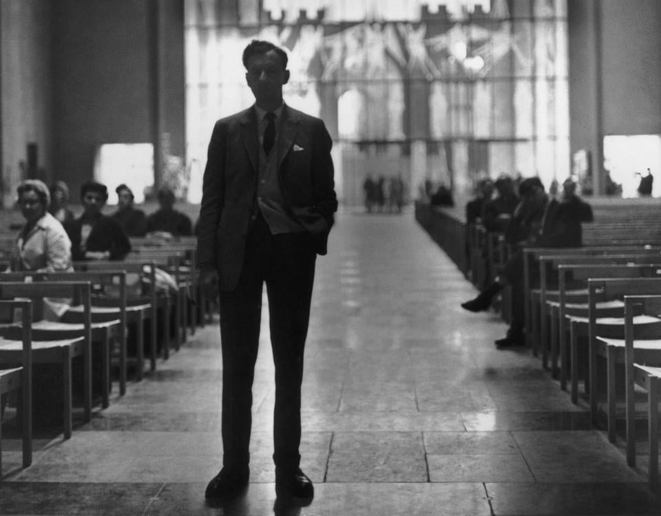 "British composer Benjamin Britten at England's Coventry Cathedral for a rehearsal of his ""War Requiem"" in 1962. The work was premiered for the reconsecration of the cathedral, which had been largely destroyed during World War II."