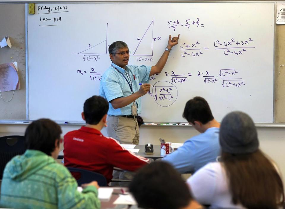 NATICK MA - 12/02/2016: Ratnakar Amaravadi (cq) teaching precalculus class at Natick High. International PISA test results released, Natick HS is among the Massachusetts schools that took the international test and has used previous results to effectively boost its instruction in math, science and literacy -- making the school among the best in the world. (David L Ryan/Globe Staff Photo) SECTION: METRO TOPIC 06pisa
