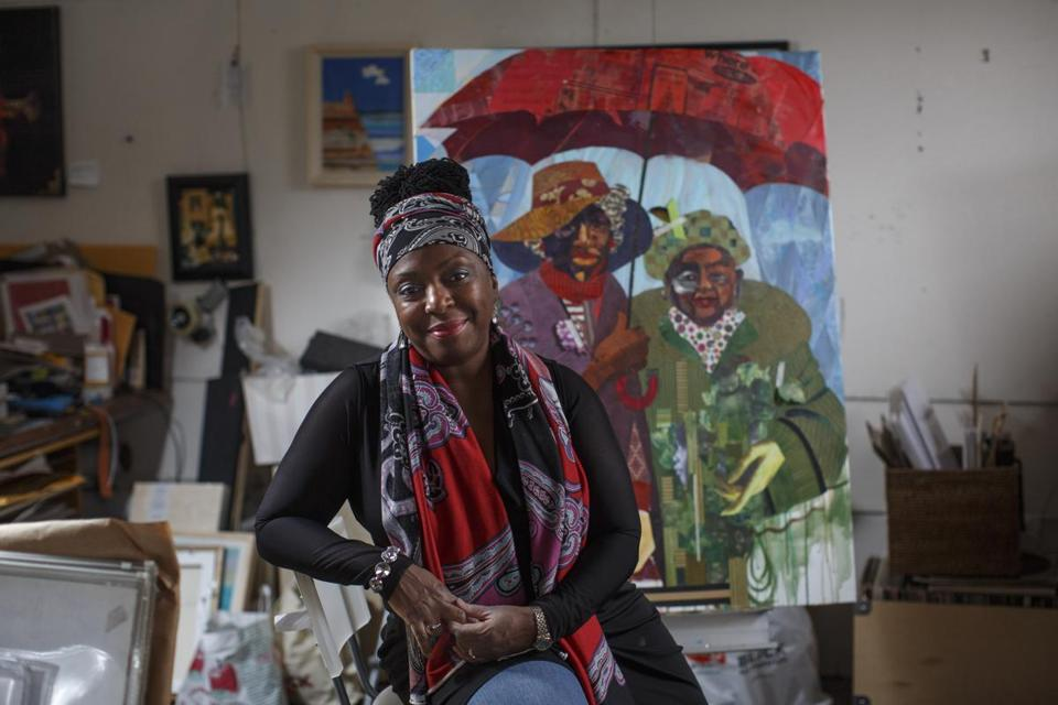 Boston, MA - 12/5/2016 - Artist Ekua Holmes posed for a portrait in her studio in the Piano Factory in Boston, MA on December 5, 2016. (Keith Bedford/Globe Staff) Topic: Reporter: