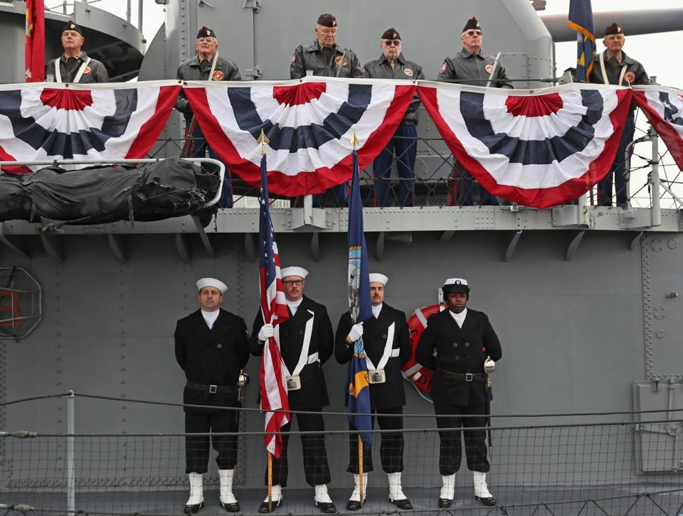 Leatherneck Honors Society Riflemen above with the USS Constitution Color Guard below on the ship at the commemorative service at the Charlestown Navy Yard on Dec. 7, 2016.
