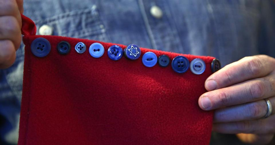 Tony Maws' Christmas stocking trim included a Star-of-David button.