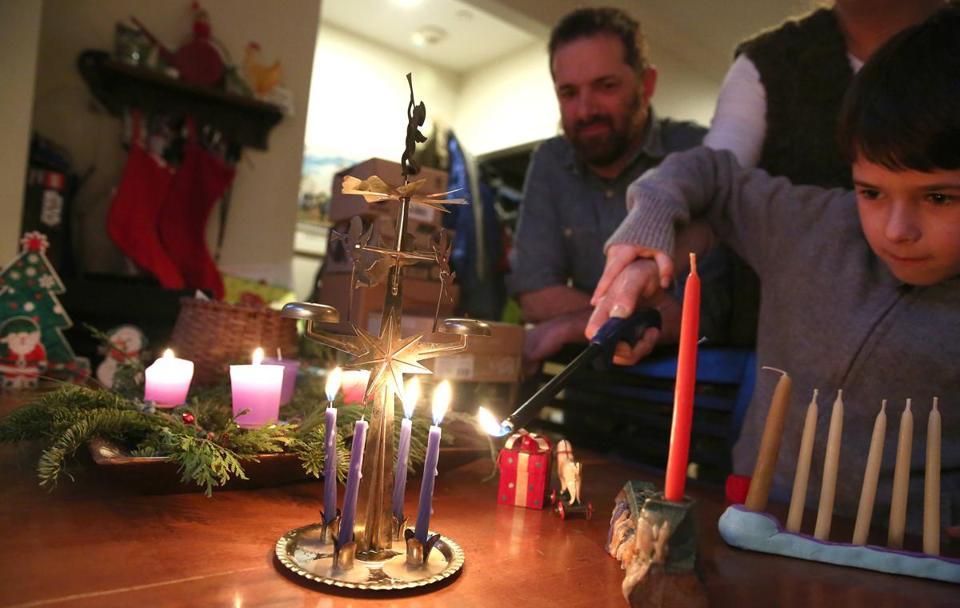 Karolyn Feeks Maws and Tony Maws are raising Charlie, 8, in Jewish and Christian traditions.