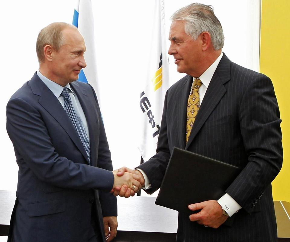 The nominee for secretary of state, Rex Tillerson, went into business with Russian leader Vladimir Putin in 2011, signing a joint-venture agreement to partner with state oil company Rosneft on Arctic oil exploration.