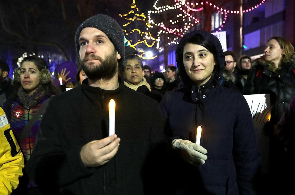 Wednesday night's march at the Boston Common was organized by the advocacy group Jewish Voice for Peace-Boston.