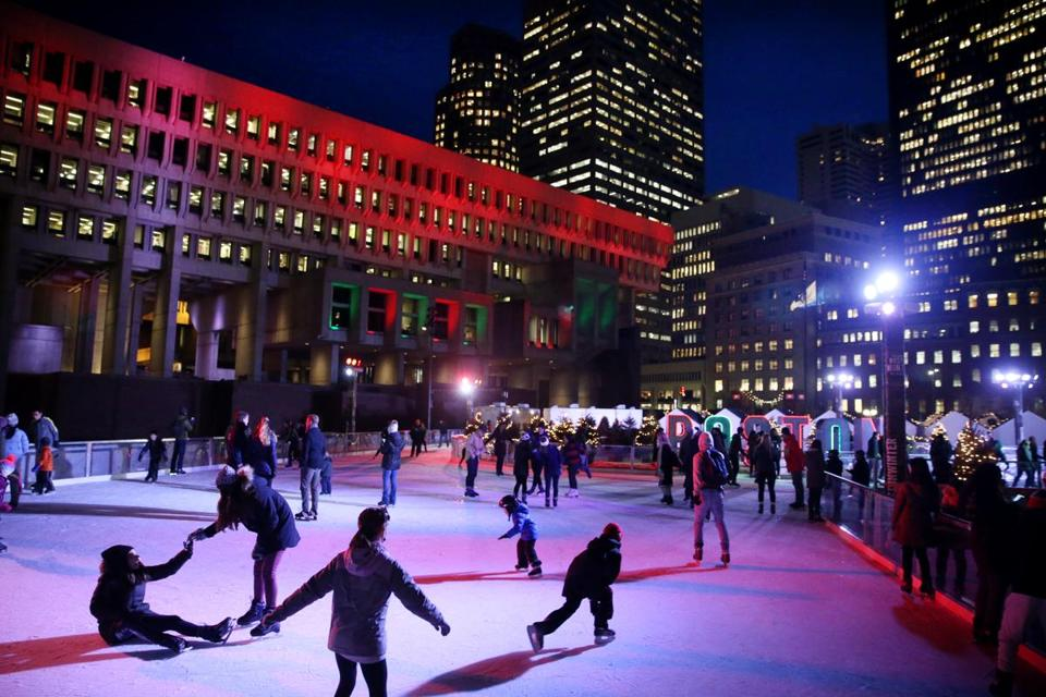 "Boston, MA - December 21, 2016: Skaters fill the ice at ""Boston Winter presented by Berkshire Bank"" at City Hall Plaza in Boston, MA on December 21, 2016. The venue includes a 11,000-square-foot Skating Path and The Chocolate Story, and a 20-foot tall pedal-powered holiday tree that lets up to four people work together to ""pedal"" the lights up to the very top. (Craig F. Walker/The Boston Globe) Section: Metro reporter:"