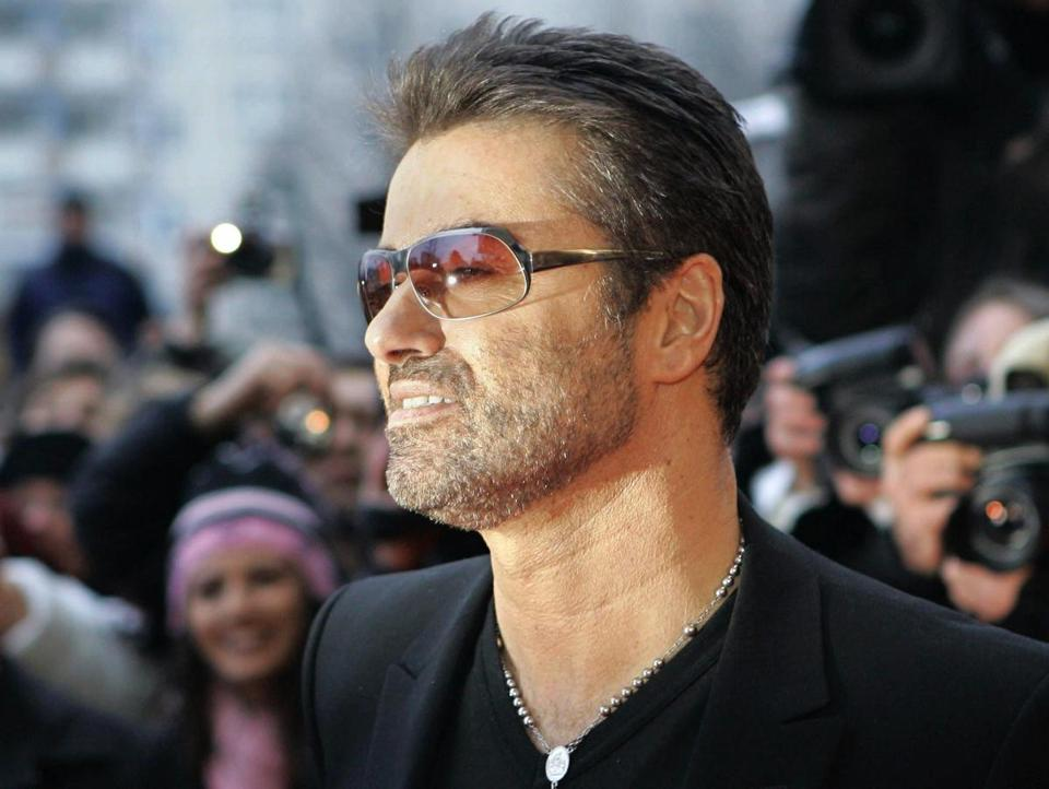 "George Michael arrived for the presentation of the film ""George Michael: A Different Story"", a documentary about his life, in Berlin, Germany, in February 2005."