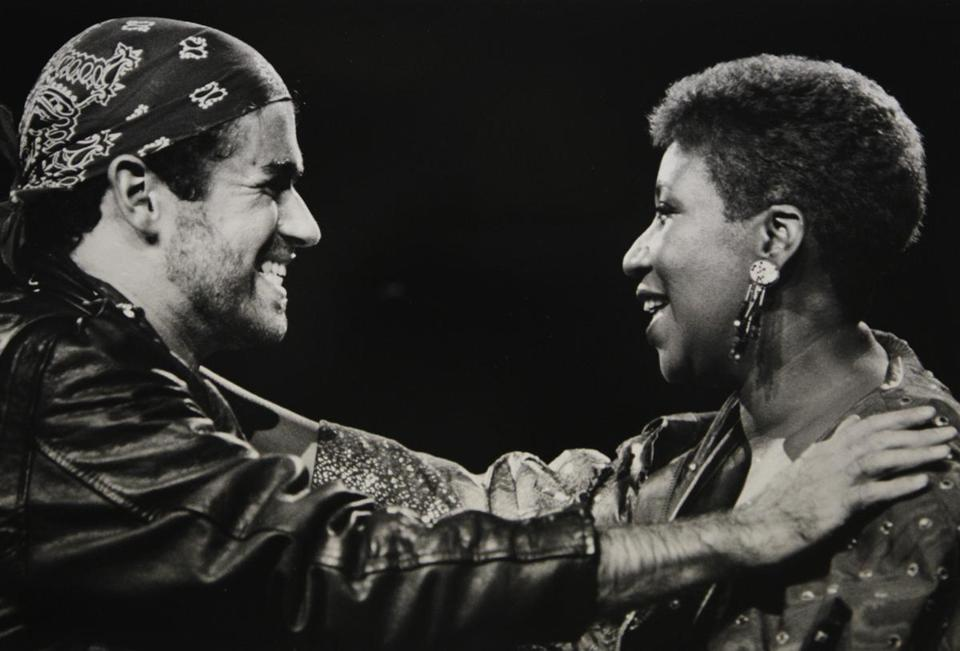 George Michael sang with Aretha Franklin in Michigan in August 1988.