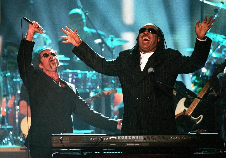 "George Michael, left, and Stevie Wonder performed ""Living for the City"" at the ""4th annual VH1 Honors"" in Universal City, Calif., in April 1997."