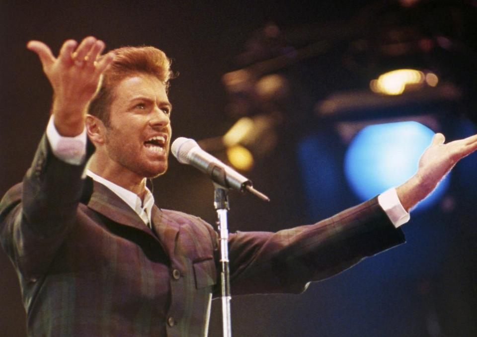 "George Michael performed at ""Concert of Hope"" to mark World AIDS Day at London's Wembley Arena FILE in December 1993."