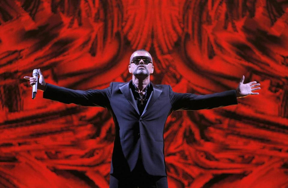 George Michael performed at a concert to raise money for the AIDS charity Sidaction in Paris, France, in September 2012.