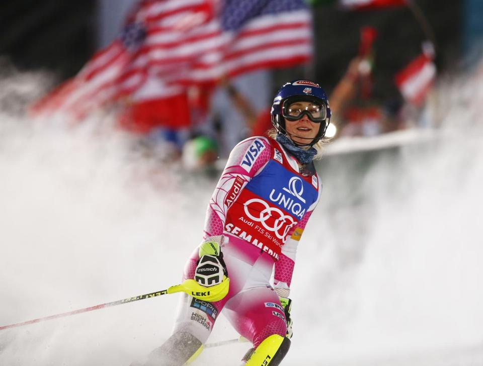 Mikaela Shiffrin reacts at finish line after winning an alpine ski, women's World Cup slalom in Semmering, Austria, Thursday, Dec. 29, 2016. (AP Photo/Giovanni Auletta)